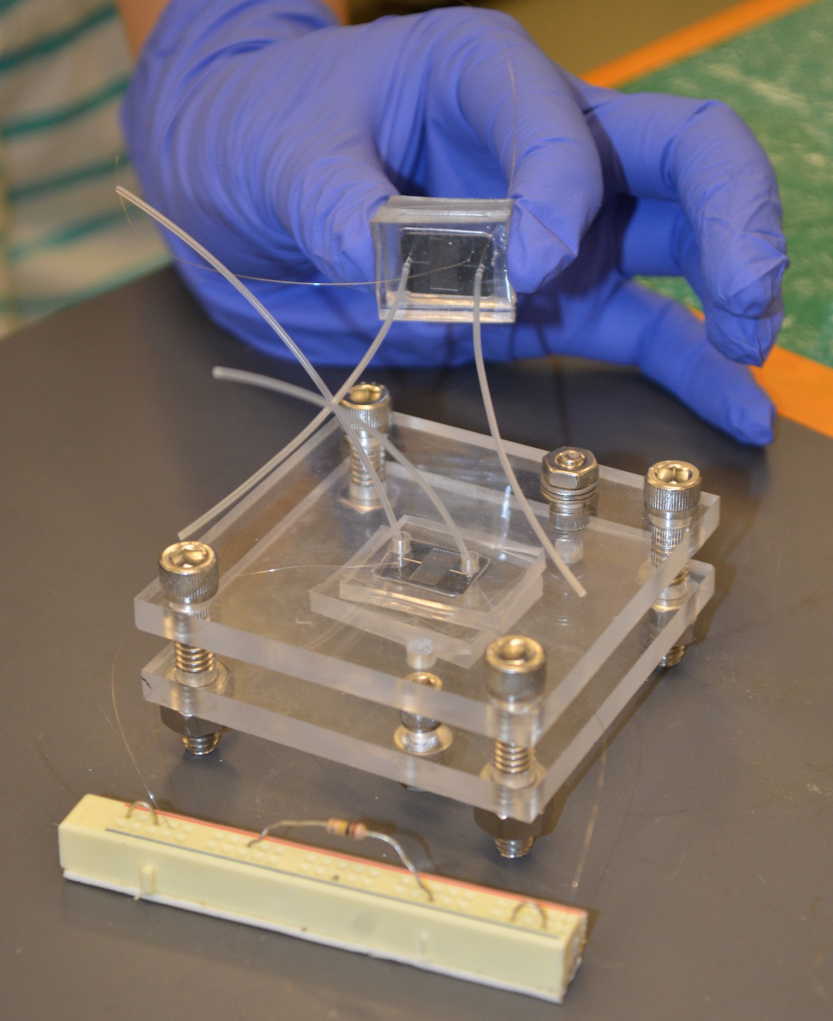 Development of a microfluidic microbial fuel cell